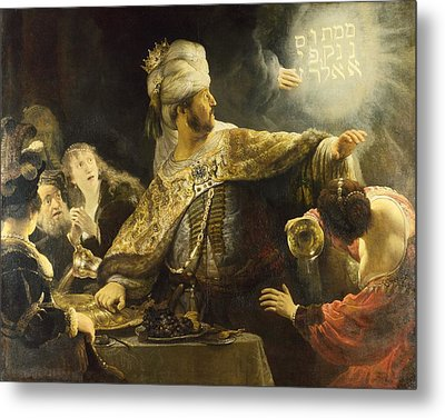 Belshazzar's Feast Metal Print by Rembrandt