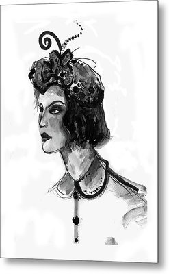 Metal Print featuring the mixed media Black And White Watercolor Fashion Illustration by Marian Voicu