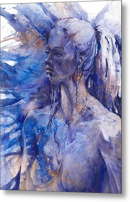 Blue Lady Metal Print by Joan  Jones
