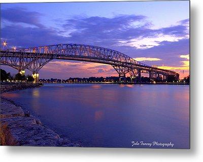 Bluewater Bridge At Sunset Metal Print