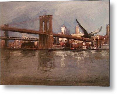 Brooklyn Bridge Metal Print by Anita Burgermeister