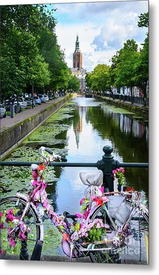 Metal Print featuring the digital art Canal And Decorated Bike In The Hague by RicardMN Photography