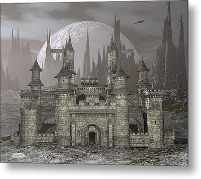 Castle By Night - 3d Render Metal Print by Elenarts - Elena Duvernay Digital Art
