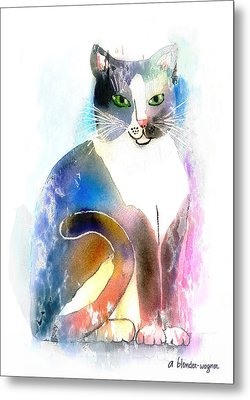 Metal Print featuring the mixed media Cat Of Many Colors by Arline Wagner