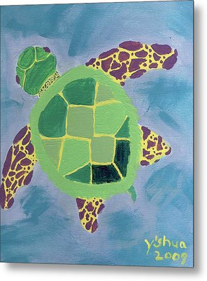 Metal Print featuring the painting Chiaras Turtle by Yshua The Painter