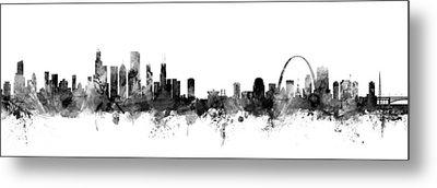 Chicago And St Louis Skyline Mashup Metal Print