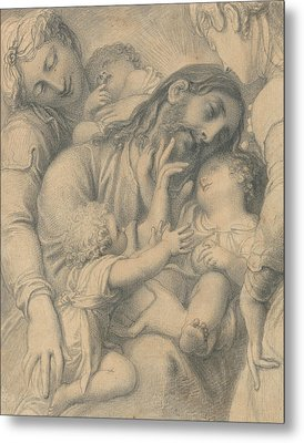 Christ Blessing Little Children Metal Print by Richard Cosway