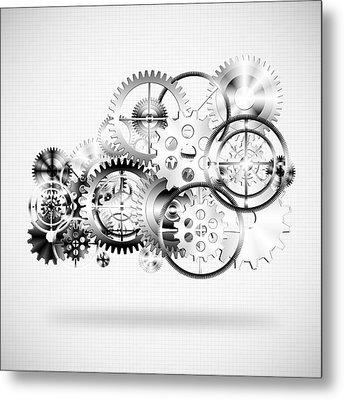 Cloud Made By Gears Wheels  Metal Print
