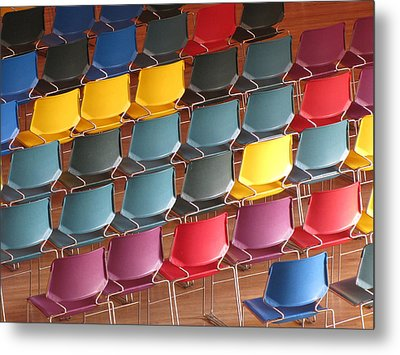 Colorful Chairs Metal Print