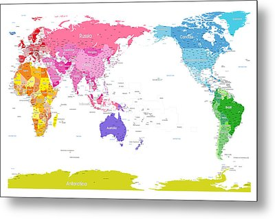 Continents World Map Metal Print by Michael Tompsett