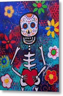 Corazon Day Of The Dead Metal Print by Pristine Cartera Turkus