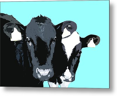 Cows - Blue Metal Print