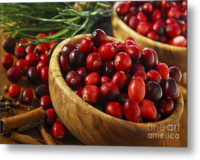 Cranberries In Bowls Metal Print