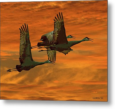 Cranes At Sunrise Metal Print by Larry Linton