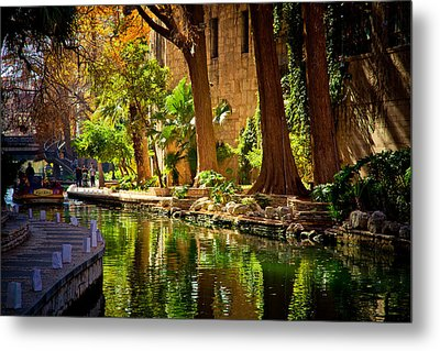 Cypress Trees In The Riverwalk Metal Print by Iris Greenwell