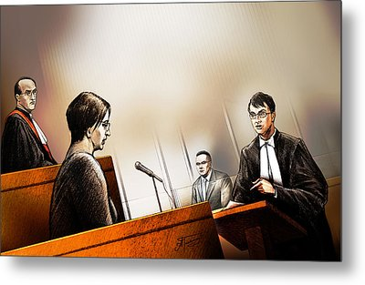 Metal Print featuring the painting Defence Attorney Dirk Derstine At The Tori Stafford Murder Trial In London by Alex Tavshunsky