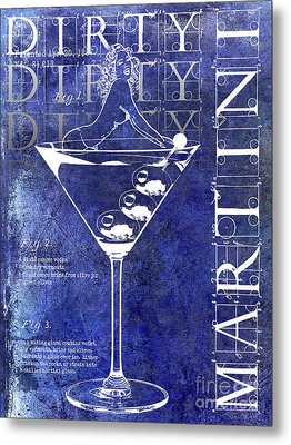 Dirty Dirty Martini Patent Blue Metal Print by Jon Neidert