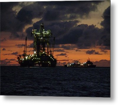 Metal Print featuring the photograph Drill Rig At Dusk by Charles and Melisa Morrison