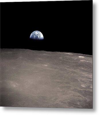 Earth Rising Above The Moons Horizon Metal Print by Stocktrek Images