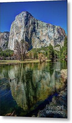 El Capitan Reflected In The Merced River Of Yosemite Metal Print