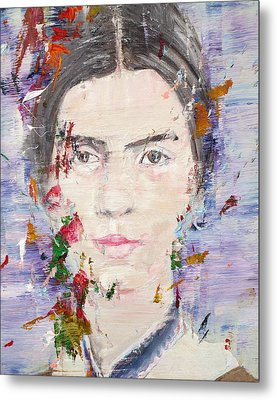 Metal Print featuring the painting Emily Dickinson - Oil Portrait by Fabrizio Cassetta