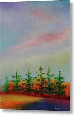 Metal Print featuring the painting Fall Is Coming by Karin Eisermann