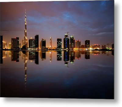 Fascinating Reflection Of Tallest Skyscrapers In Bussiness Bay D Metal Print