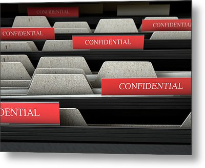 Filing Cabinet Drawer Open Confidential Metal Print by Allan Swart