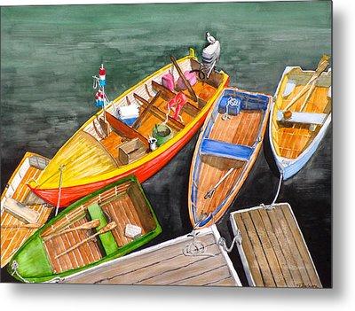 Five Boats In Rockport Harbor Metal Print