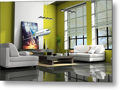Fly The Friendly Skies Art Metal Print by Marvin Blaine