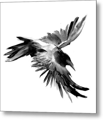 Flying Raven Metal Print by Suren Nersisyan