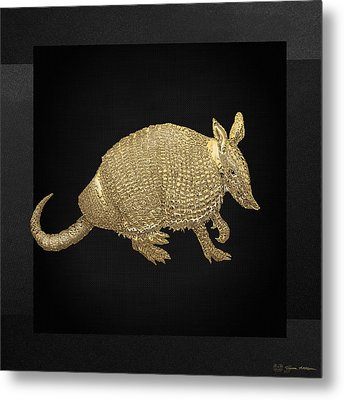 Gold Armadillo On Black Canvas Metal Print