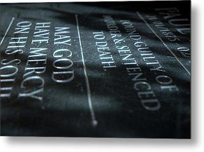 Gravestone Of Convicted Murderer Metal Print