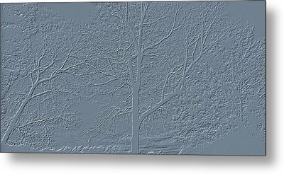 Grey Embossed Trees Metal Print