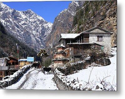 Himalayan Mountain Village Metal Print by Aidan Moran