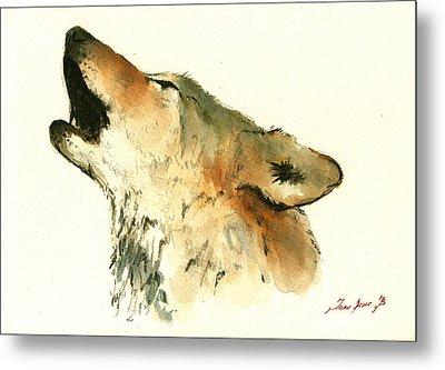 Howling Wolf Metal Print by Juan  Bosco