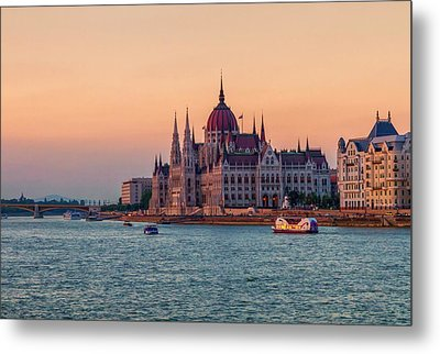 Hungarian Parliament Building In Budapest, Hungary Metal Print by Elenarts - Elena Duvernay photo