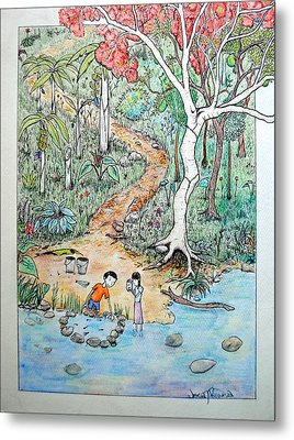 Metal Print featuring the painting Hunting For Tadpoles by Josean Rivera