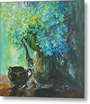 Metal Print featuring the painting Hydrangea 2 by Gloria Turner