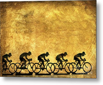 Illustration Of Cyclists Metal Print by Bernard Jaubert