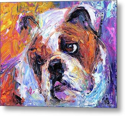 Impressionistic Bulldog Painting  Metal Print by Svetlana Novikova