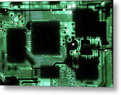 Integrated Circuit Board From A Computer Metal Print by Sami Sarkis