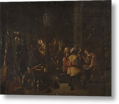 Interior Scene With Soldiers Paying Dice Metal Print