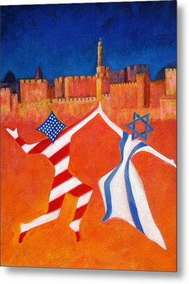 Israel And Usa Dancing Metal Print by Jane  Simonson