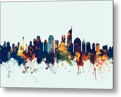 Jakarta Skyline Indonesia Bombay Metal Print