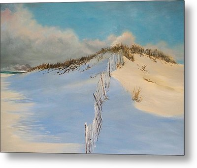 Metal Print featuring the painting Jersey Dunes by Ken Ahlering