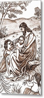 Jesus And The Children Metal Print by Norma Boeckler
