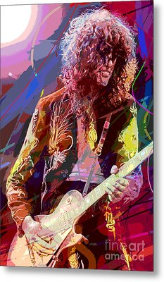 Jimmy Page Les Paul Gibson Metal Print by David Lloyd Glover