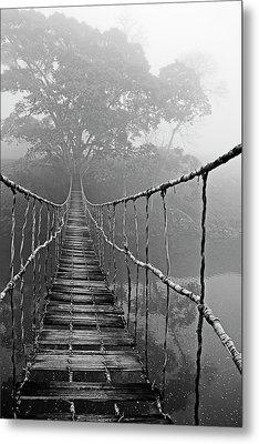 Jungle Journey Black And White Metal Print
