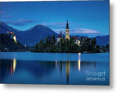 Metal Print featuring the photograph Lake Bled Twilight by Brian Jannsen